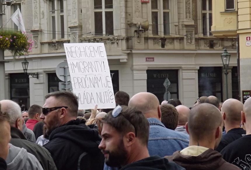 Demonstrace proti migraci, Plzeň,, Pnd