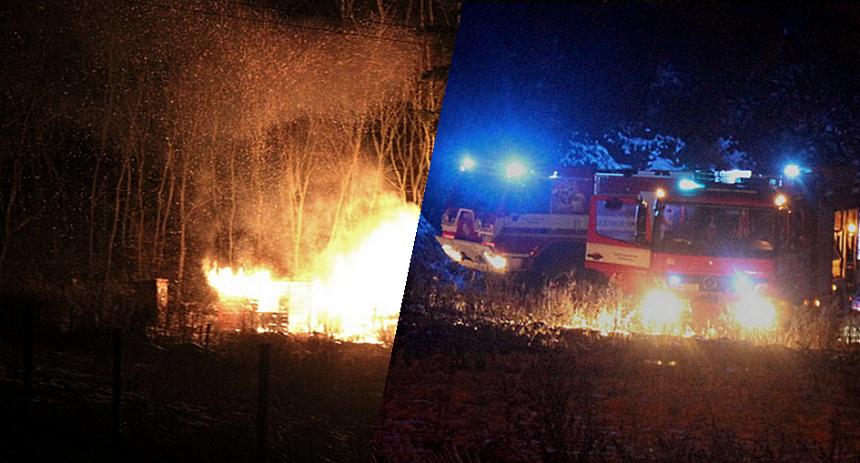 požár dřevěné boudy, krimi-plzen.cz