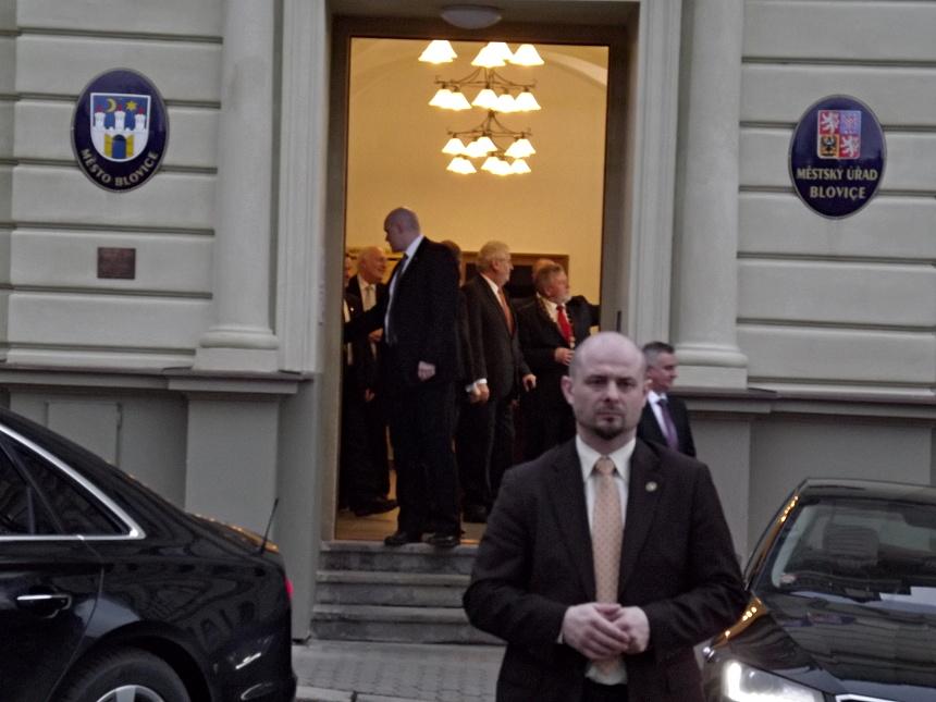 prezident Miloš Zemna v doporovodu Hejtmana a blovického starosty, PnD