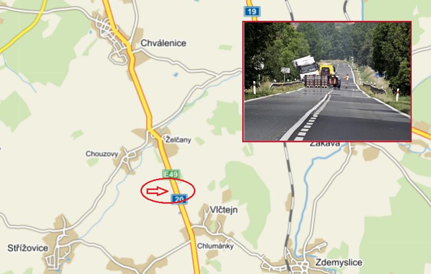 místo kolize kamionu, pnd, zdroj - mapy.cz